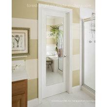 Baño blanco Shaker puerta de madera con espejo de vidrio transparente