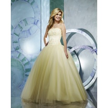 Gaun Ball Strapless Benang Lantai panjang Beading Ruffled Wedding Dress