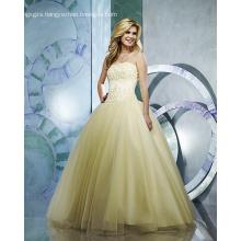Ball Gown Strapless Yarn Floor-length Beading Ruffled Wedding Dress