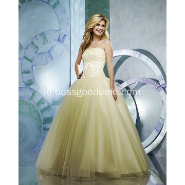 Ball Gown Strapless Yarn Lantai Panjang Wedding Dress Mengacak-acak Beading