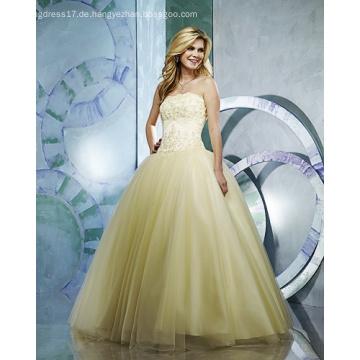 Ballkleid Trägerloses Garn Bodenlanges Perlenstickerei Rüschen Brautkleid