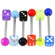 Großhandel UV Acryl Würfel Ball Gefälschte Piercing Zunge Barbell Schmuck