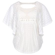 Hanna Nikole mujeres más tamaño suelta semi-transparente Batwing manga blanco topes de encaje HN0020-2