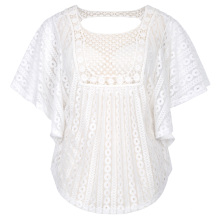 Hanna Nikole Women Plus Size Loose Semi See-Through Batwing Sleeve White Lace Tops HN0020-2