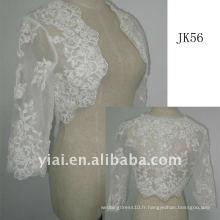 JK56 femme veste de mariage en perles à manches longues