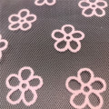 Pink Flowers Flocking Printed Tulle for Home Textile