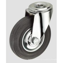 Roulette industrielle en caoutchouc noir sans frein