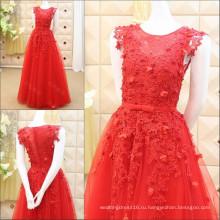 Заказ реальная картина Красный Вечерние платья 2016 последние кружева аппликация из бисера длинные вечерние платья Бесплатная доставка ML171