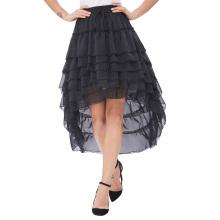 Belle Poque Mujer Damas Amelia Steampunk cintura elástica rizada gasa negro color torta falda BP000227-1
