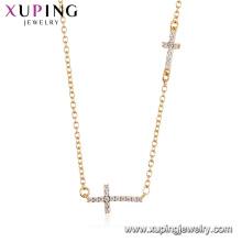 44490 Xuping Großhandel Mode 18 Karat Gold Farbe Religion Doppelkreuz Halskette für Frauen
