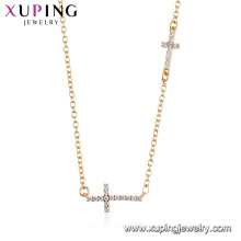 44490 xuping оптом мода 18k золотой цвет религия двойной крест ожерелье для женщин