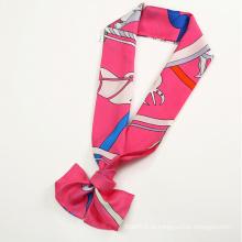 Silk Twill Decoration Tie Scarf Acessórios Scarf Pink