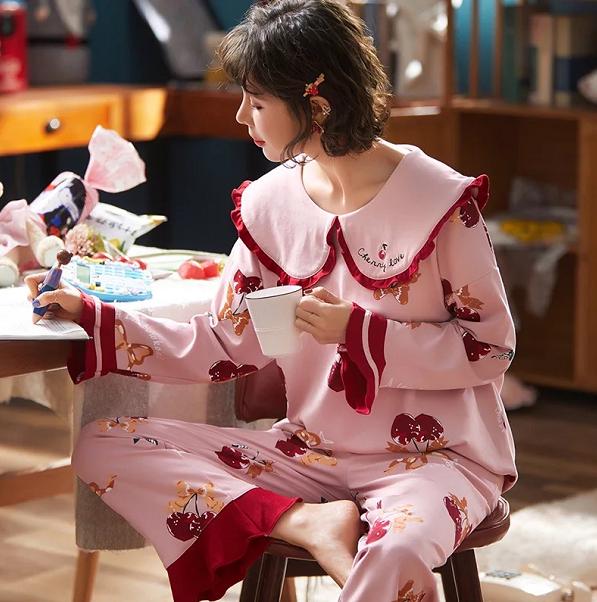 Womens Cute Long Sleeved Cotton Nightwear Pajamas Set