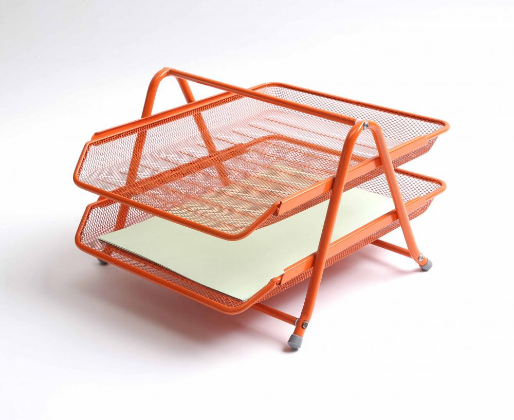 Orange Wire Metal Mesh Desk Organizer File Tray