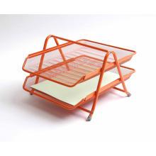 Plateau de fichiers organisateur de bureau en treillis métallique orange