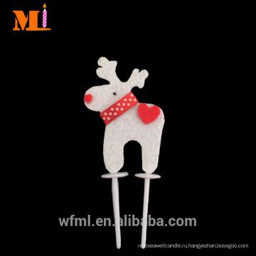 Прямой Производитель оленей формы нетканые Рождественские украшения торта Топпер для продажи