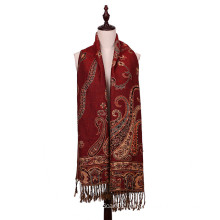 Women Long Scarf Winter Pashmina of Flower Pattern