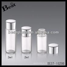 Botella con tapa de rosca de aluminio de 2 / 3ml con tapón, botella con tapa de rosca de aluminio plateada con tapón