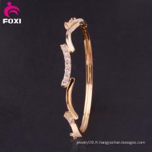 Grossiste Lucky Gold Gemstones Bracelet Synthetic Diamond Bangle