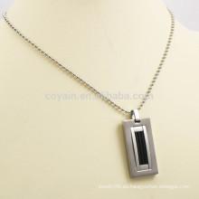 Relleno de esmalte negro rectángulo de acero inoxidable collar de hombre colgante