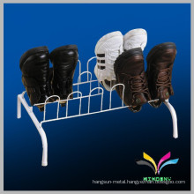 2 levels sturdy balck flooring detachable wire metal high quality shoes display rack