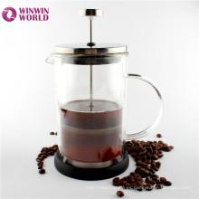 Comercio al por mayor FDA Fancy 600ml doble pared de vidrio aislado prensa de café