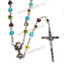Mixed Colors Gemstone Heart Beads Religious Rosary Necklace