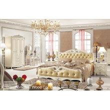 Französische Antike Hölzerne König Größe Schlafzimmer-Set (HF-MG023)