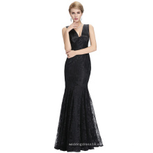 Starzz 2016 nuevo sin mangas V cuello V trasero elegante negro cordón largo sirena vestido de noche ST000084-1