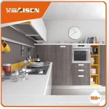 Armário de cozinha de revestimento de madeira de alto brilho clássico totalmente estocado