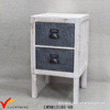 Solid Wood Handmade Wood 2 Zinc Drawer Small Cabinet