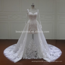 XF16075 Hot sell long sleeves with detachable train lace wedding dress 2017