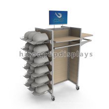 Marca de fábrica Metal de madera de la ropa móvil estante de la exhibición Casquillos de los deportes y estantes de la exhibición de la ropa