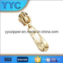Fashion Design Light Gold Painted Metal Zipper Slider