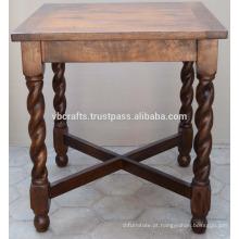 Mesa de jantar em madeira de manga sólida Pernas esculpidas