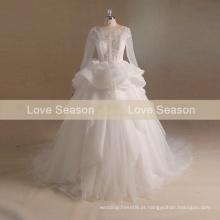 MRY006 Real organza V baixa corte back taiwan online shoppingsexy ver através do vestido de casamento espartilho mangas compridas vestido princesa