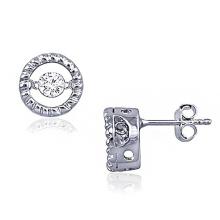 Pendiente de plata del perno prisionero de la danza del diamante de la manera 925
