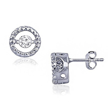 Fashion Diamond Dance Jewelry 925 Silver Stud Earring
