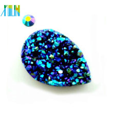 Metallic blue teardrop no hole ab rhinestone pave resin beads