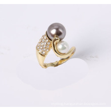 Fashion Jewelry Ring Gold Plated with Glass Pearl