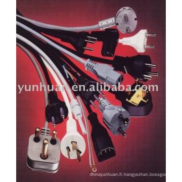 Les câbles d'alimentation avec fiche et câble VDE iec cordon