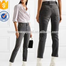 Calças de brim adornadas com cristais de arranha-céus Slim-leg manufaturam a roupa por atacado das mulheres da forma (TA3060P)