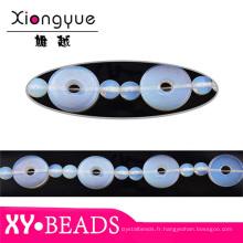Trou rond bleu opale perles colliers TRS190