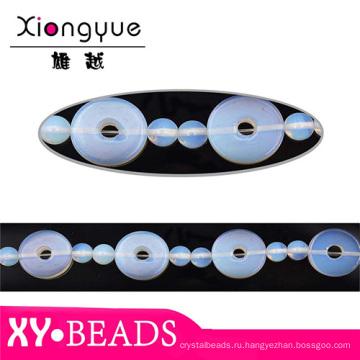 Синий круглое отверстие опал бисера ожерелья TRS190
