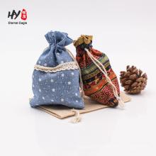 hermosa cómoda bolsa de lino con cordón