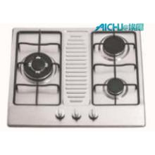 3 fogões de cozinha de aço inoxidável dos queimadores