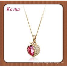 Großhandel italina Kristall Apfel Form Anhänger Halskette für junge Mädchen