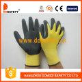 Gelbes Nylon mit schwarzem Nitril-Handschuh-Dnn451