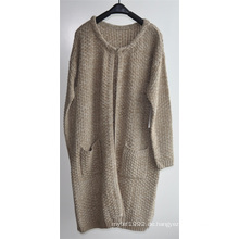 Winter Damen Longline Open Cardigan mit Tasche