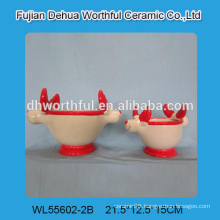 Novel design ceramic flower pot in reindeer shape